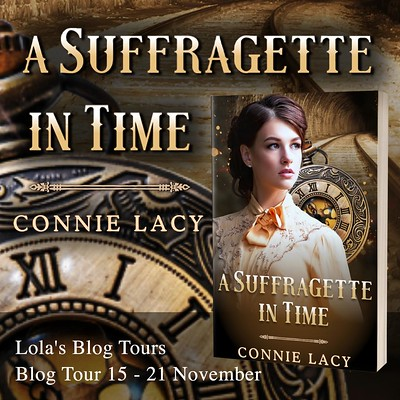 A Suffragette in Time square tour banner